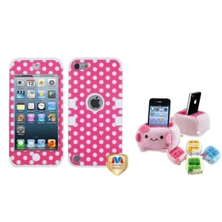 BasAcc White/ Pink TUFF Case/ Plush Holder for Apple iPod Touch 5