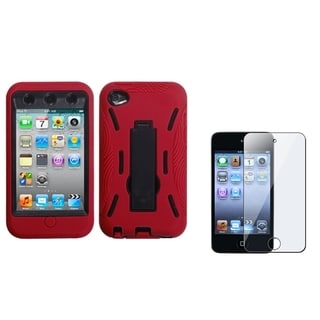 INSTEN Black/ Red iPod Case Cover/ Stylus/ LCD Protector for Apple iPod Touch 4