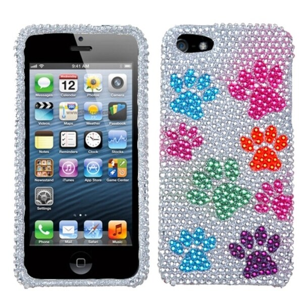 INSTEN Dog Paw Diamante Protector Phone Case Cover for Apple iPhone 5