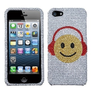 INSTEN Music Smiles Diamante Protector Phone Case Cover for Apple iPhone 5/ 5S/ SE