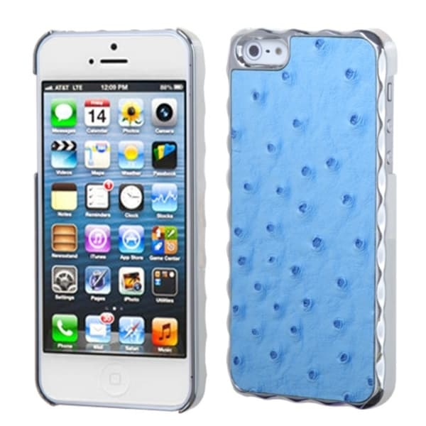 INSTEN Sky Blue Silver Plating Ostrich Alloy Phone Case Cover for Apple iPhone 5