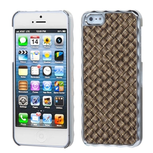 INSTEN Brown Silver Plating/ Golden Alloy Phone Case Cover for Apple iPhone 5