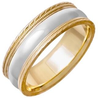 14k Two-tone Gold Men's Handmade Comfort Fit Milligrain Wedding Band