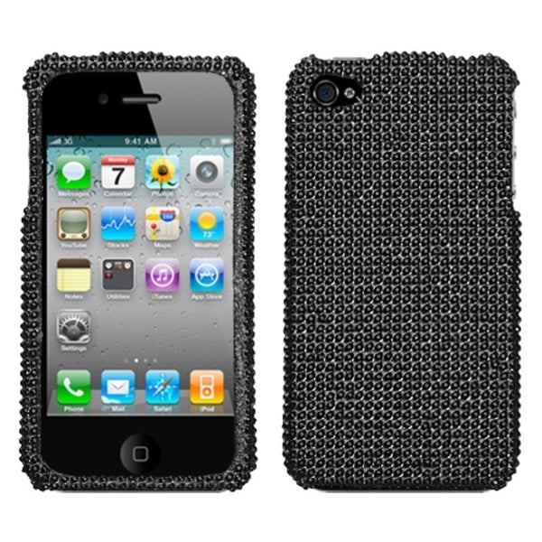 INSTEN Black/ Diamante Phone Case Cover for Apple iPhone 4S/ 4