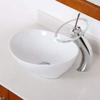 ELITE 8089F22TC High Temperature Grade A Ceramic Bathroom Sink With Oval Design and Chrome Finish Waterfall Faucet Combo