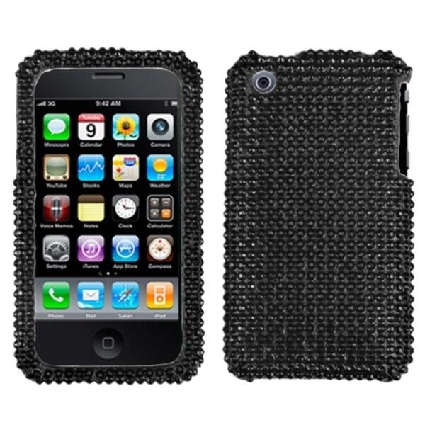 INSTEN Black/ Diamante Phone Case Cover for Apple iPhone 3GS/ 3G