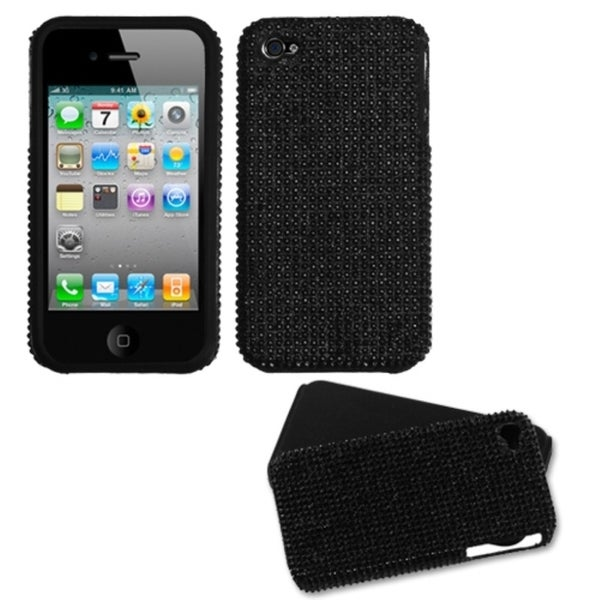 INSTEN Black/ Diamante Fusion Phone Case Cover for Apple iPhone 4S/ 4