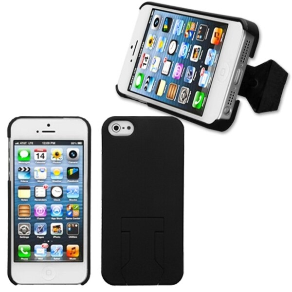 INSTEN Black Phone Case Cover with Stand for Apple iPhone 5