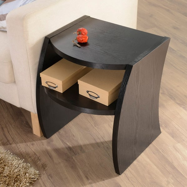Furniture of america drewland black modern end side table for Furniture of america danbury modern