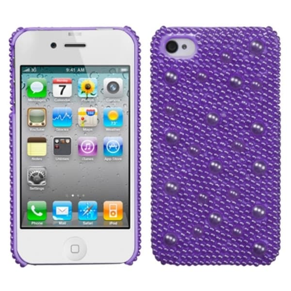 INSTEN Baby Purple/ Pearl/ Diamond Phone Case Cover for Apple iPhone 4S/ 4