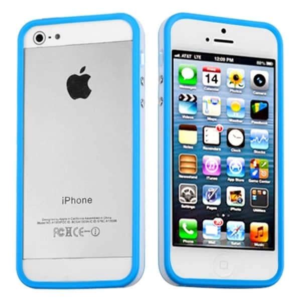 INSTEN Baby Blue/ Solid White Bumper Phone Case Cover for Apple iPhone 5