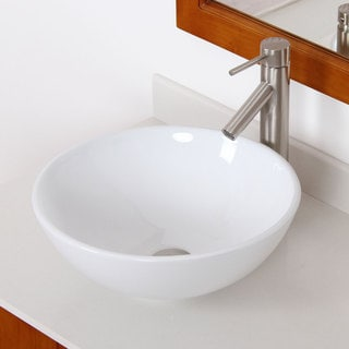 ELITE 41572659BN High Temperature Ceramic Bathroom Sink With Round Design and Brushed Nickel Finish Faucet Combo