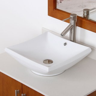 ELITE 41252659BN High Temperature Ceramic Bathroom Sink With Square Design and Bushed Nickel Finish Faucet Combo