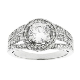 Moise Silvertone Clear Cubic Zirconia Halo Engagement-style Ring