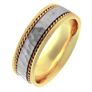 14k Two-tone Gold Men's Comfort Fit Handmade Hammered Rope Wedding Band