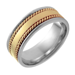 14k Two-tone Gold Men's Comfort Fit Handmade Rope Wedding Band