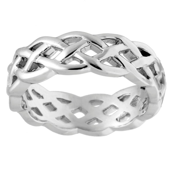 14k White Gold Mens Comfort Fit Celtic Wedding Band