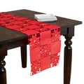 Red Embroidered Floral Cutwork Table Topper or Runner