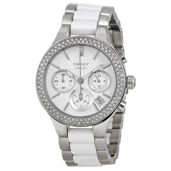 DKNY Women's NY8181 White Stainless-Steel Quartz Watch with White Dial