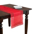 Red Embroidered Cutwork Table Runner