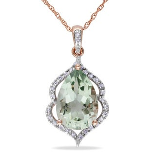 Miadora 10k Rose Gold Green Amethyst and 1/10ct TDW Diamond Necklace