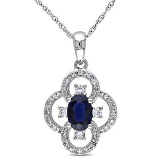 Miadora 10k White Gold 1/6ct TDW Diamond and Sapphire Necklace (G-H, I1-I2)