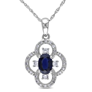 Miadora 10k White Gold 1/6ct TDW Diamond and Sapphire Necklace (G-H, I1-I2)