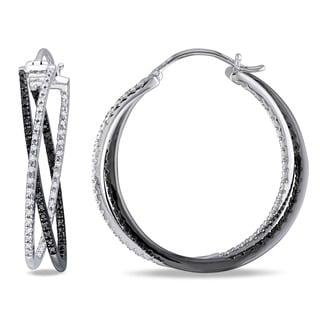 Miadora Sterling Silver 1/2ct TDW Black and White Diamond Hoop Earrings (H-I, I2-I3)