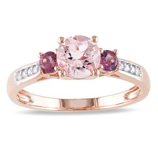 Miadora 10k Rose Gold Morganite, Tourmaline and Diamond 3-Stone Ring