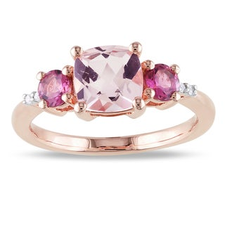 Miadora Rose Plated Silver Morganite, Tourmaline and Diamond 3-Stone Ring