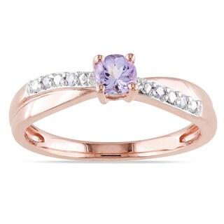Miadora Rose-plated Silver Heart-cut Tanzanite and Diamond Ring