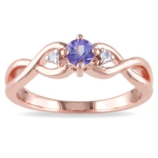 Miadora Rose Plated Silver Tanzanite and Diamond Ring
