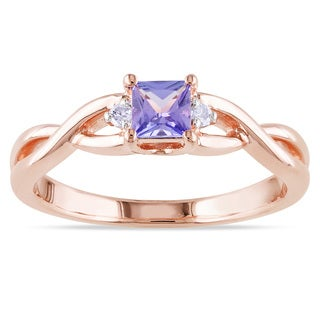 Miadora Rose-plated Silver Blue Tanzanite and Diamond Ring