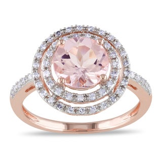 Miadora 10k Rose Gold Morganite and 1/4ct TDW Diamond Ring (H-I, I2-I3)