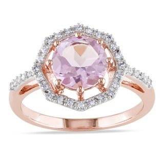 Miadora 10k Rose Gold Rose De France and 1/6ct TDW Diamond Ring (H-I, I2-I3)