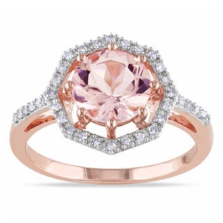 Miadora 10k Rose Gold Morganite and 1/6ct TDW Diamond Rings (H-I, I2-I3)