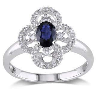 Miadora 10k White Gold Sapphire and 1/6ct TDW Diamond Ring (G-H, I1-I2)