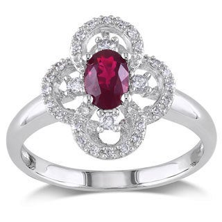 Miadora 10k White Gold Ruby and 1/6ct TDW Diamond Ring (G-H, I1-I2)