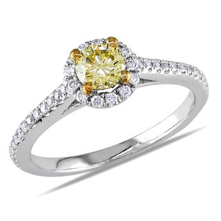 Miadora 14k White Gold 3/4ct TDW Fancy Yellow and White Diamond Ring (VS1-VS2)