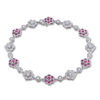 Miadora 14k White Gold 3/4ct TDW Diamond and Pink Sapphire Bracelet (SI1-SI2)