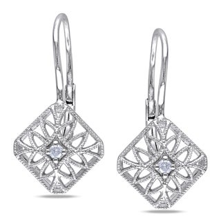 Miadora Sterling Silver Diamond Leverback Earrings