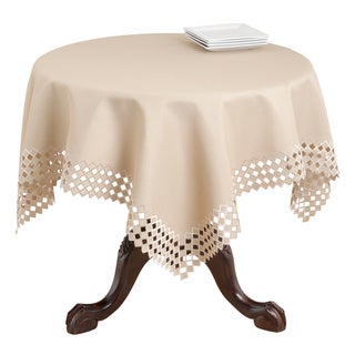 Cappucino Embroidered Cutwork Table Topper