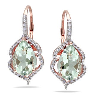 Miadora 10k Rose Gold 1/5ct TDW Diamond and Green Amethyst Earrings (H-I, I2-I3)