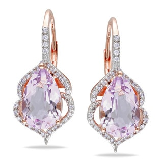 Miadora 10k Rose Gold Rose de France and 1/5ct TDW Diamond Earrings (H-I, I2-I3)