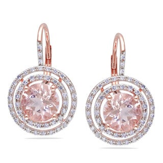 Miadora 10k Rose Gold 3/8ct TDW Diamond and Morganite Earrings (H-I, I2-I3)