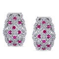 Miadora Silver Created Ruby and White Sapphire Earrings