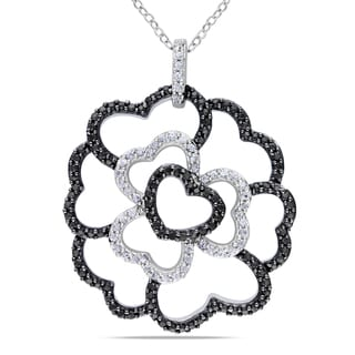 Miadora Silver Black Spinel and Created White Sapphire Necklace