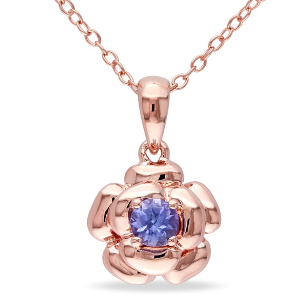 Miadora Rose Plated Silver Tanzanite Flower Necklace