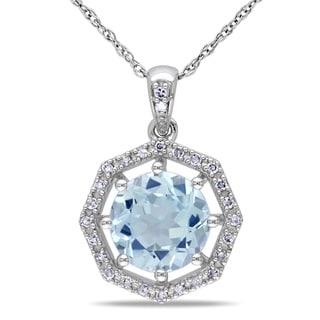Miadora 10k White Gold Blue Topaz and 1/10ct TDW Diamond Necklace (H-I, I2-I3)