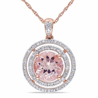 Miadora 10k Rose Gold 1/5ct TDW Diamond and Morganite Necklace (H-I, I2-I3)